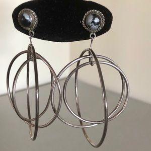 Vintage silver triple hoop earrings